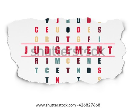 Law concept: Painted red word Judgement in solving Crossword Puzzle on Torn Paper background - stock photo