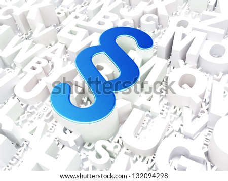 Law concept: Paragraph on alphabet background, 3d render - stock photo