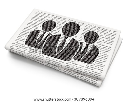 Law concept: Pixelated black Business People icon on Newspaper background - stock photo