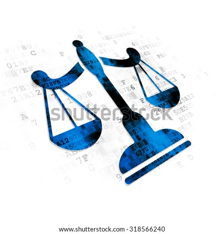 Law concept: Pixelated blue Scales icon on Digital background - stock photo
