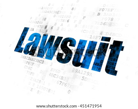 Law concept: Pixelated blue text Lawsuit on Digital background