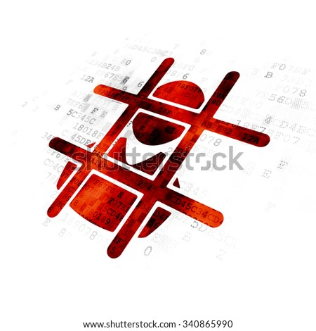 Law concept: Pixelated red Criminal icon on Digital background - stock photo
