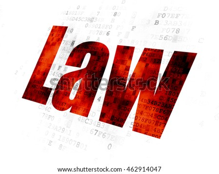 Law concept: Pixelated red text Law on Digital background