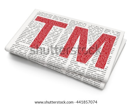 Law concept: Pixelated red Trademark icon on Newspaper background, 3D rendering - stock photo