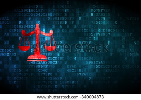 Law concept: pixelated Scales icon on digital background, empty copyspace for card, text, advertising