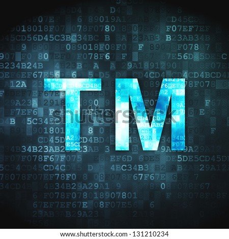 Law concept: pixelated Trademark icon on digital background, 3d render - stock photo