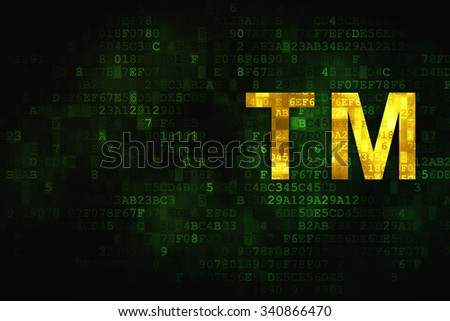 Law concept: pixelated Trademark icon on digital background, empty copyspace for card, text, advertising - stock photo