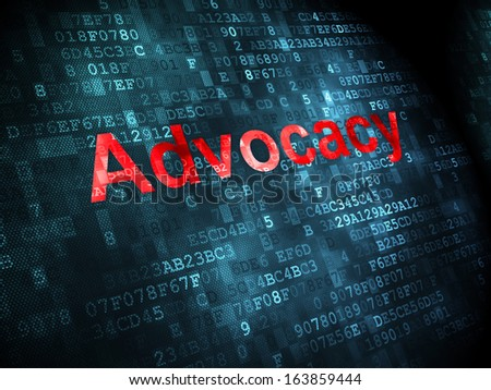 Law concept: pixelated words Advocacy on digital background, 3d render - stock photo