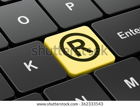 Law concept: Registered on computer keyboard background