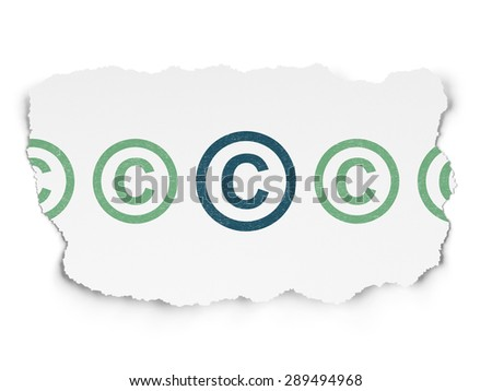 Law concept: row of Painted green copyright icons around blue copyright icon on Torn Paper background - stock photo