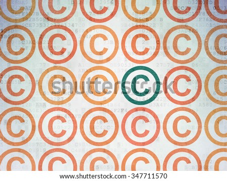 Law concept: rows of Painted orange copyright icons around green copyright icon on Digital Paper background - stock photo