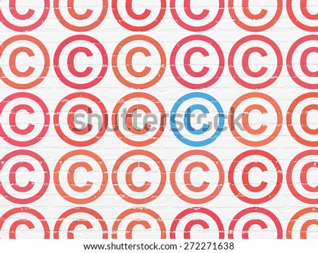 Law concept: rows of Painted red copyright icons around blue copyright icon on White Brick wall background, 3d render - stock photo