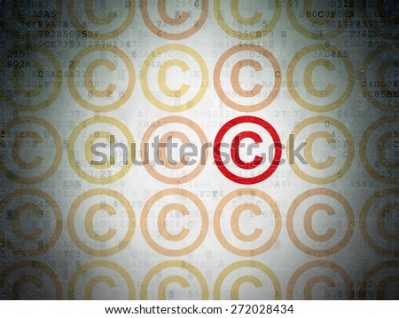 Law concept: rows of Painted yellow copyright icons around red copyright icon on Digital Paper background, 3d render - stock photo