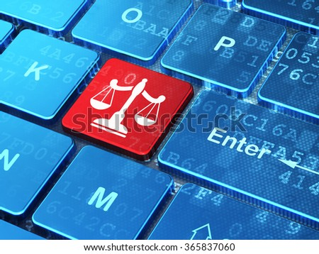 Law concept: Scales on computer keyboard background - stock photo