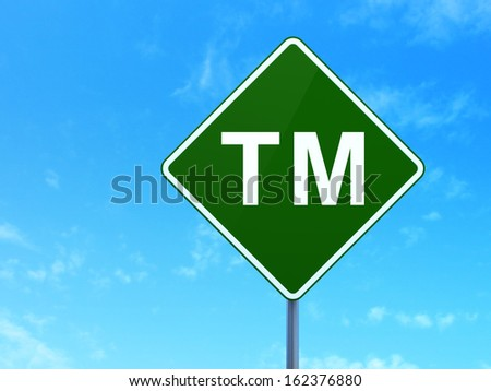 Law concept: Trademark on green road (highway) sign, clear blue sky background, 3d render