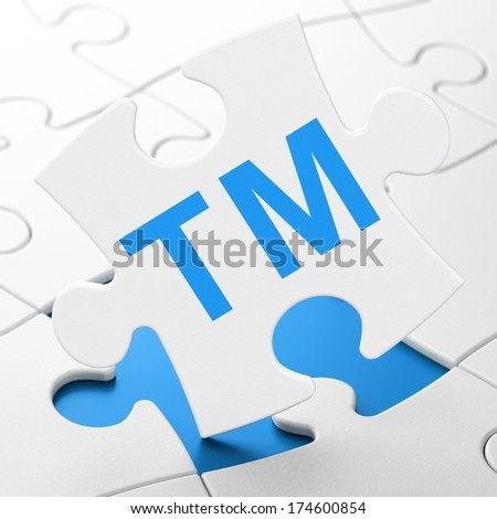 Law concept: Trademark on White puzzle pieces background, 3d render - stock photo