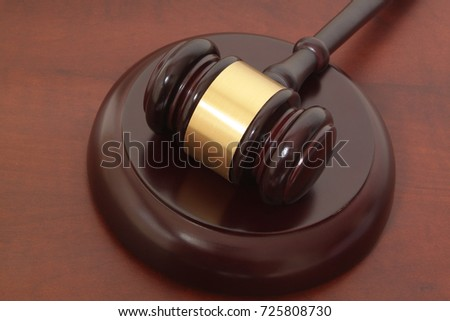 Law concept, wooden judge gavel close up