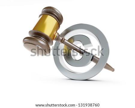 law copyright sign 3d Illustrations on a white background - stock photo