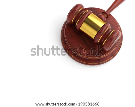 Law, court and auction template: wooden judge gavel with stand on white background. - stock photo