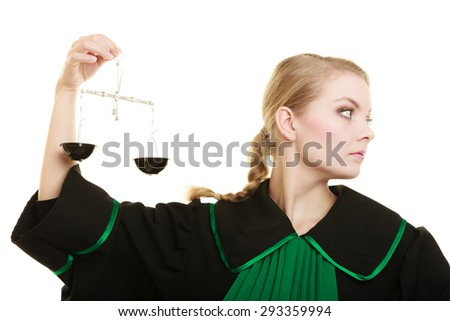 Law court concept. Woman lawyer attorney wearing classic polish black green gown holds scales. Femida - symbol sign of justice. isolated on white - stock photo