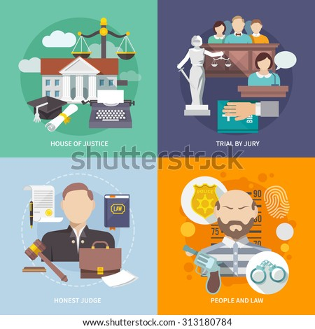 Law design concept with house of justice trial by jury honest judge icon flat set isolated  illustration - stock photo