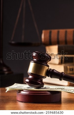 law gavel  and money  - stock photo