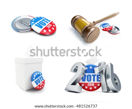 law gavel vote election badge button for 2016 . 3d Illustrations on a white background