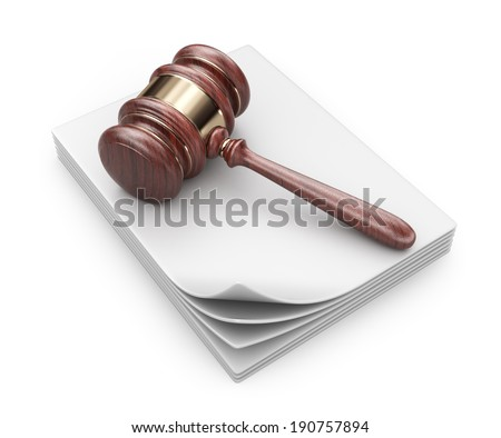 LAW hammer on documents. Legal concept;  3D Icon isolated  - stock photo