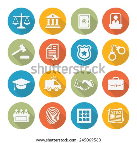Law icons in flat style - stock photo