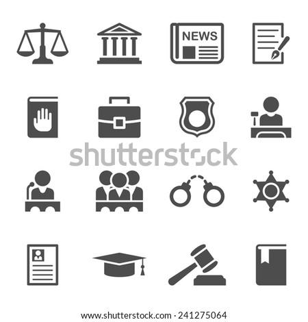 law icons set - stock photo