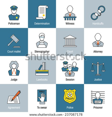 Law justice and legislation flat line icons set of judge scales courthouse and jail isolated  illustration - stock photo