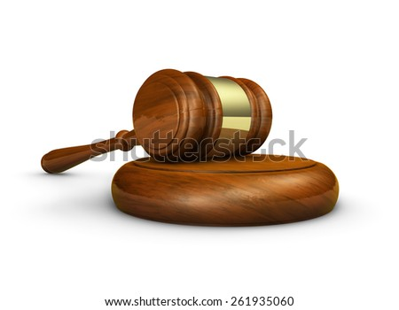 Law, lawyer and Justice and judge concept with a 3d rendering of a gavel on white background.