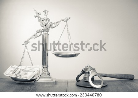 Law scales, dollars cash money, judge gavel, handcuff. Vintage old style sepia photo - stock photo
