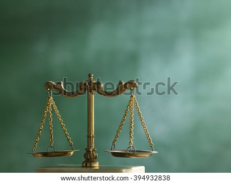 Law scales on table. Symbol of justice - stock photo