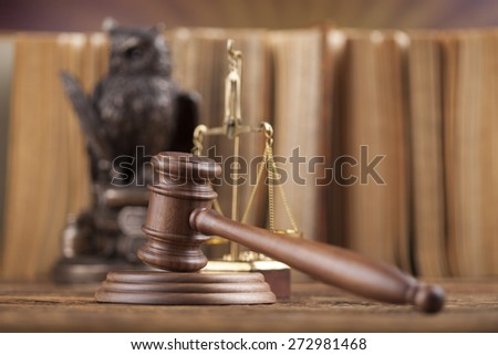 Law theme, mallet of judge, wooden gavel - stock photo