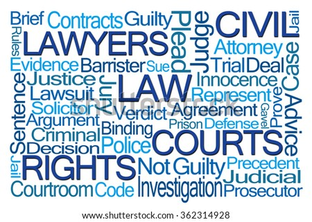Law Word Cloud on White Background - stock photo