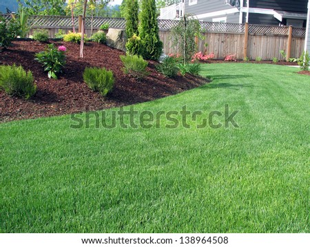 Lawn Area with Planter - stock photo