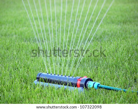 Lawn being irrigated by sprinkler - stock photo