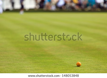 Lawn bowling green with wood - stock photo