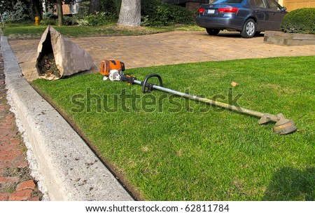 Lawn care equipment and garden sac in residential neighborhood