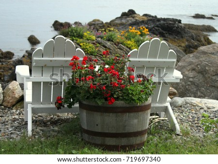 Lawn Chairs Overlooking Rocky Sea Coast With Barrel Of Flowers