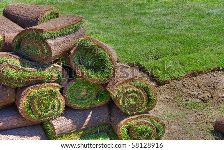 lawn, grass-plot in the rolls - stock photo