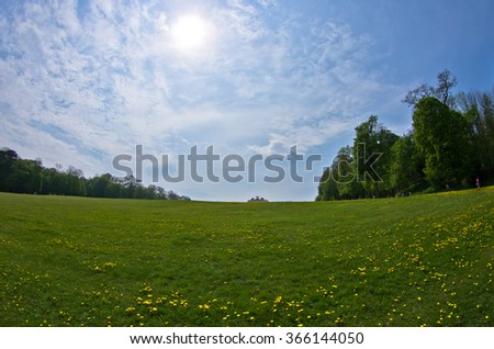 Lawn in front of Gloriette building, Schenbrunn palace in Vienna, Austria - stock photo