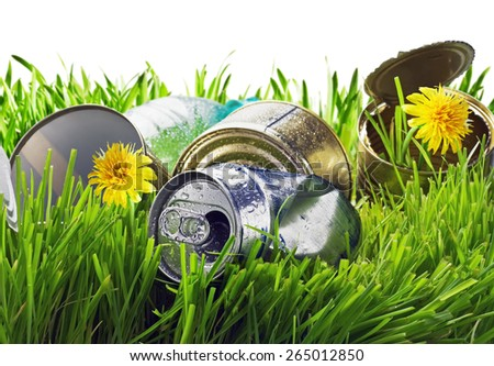 lawn littered with garbage on a white background. focus on garbage - stock photo