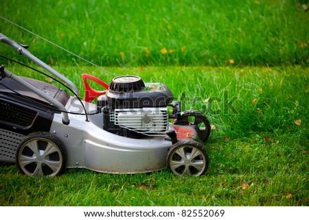 lawn mower closeup - stock photo