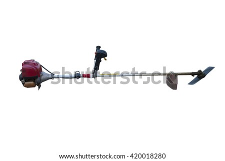 Lawn Mower isolated on white background - stock photo