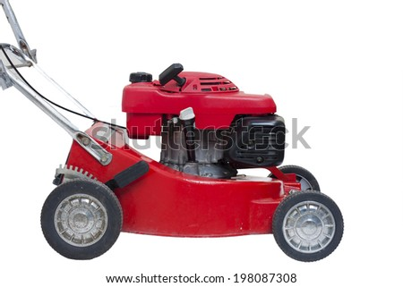 Lawn mowers red with isolated - stock photo