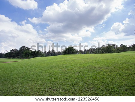 lawn of golf course, green grass field in the park - stock photo