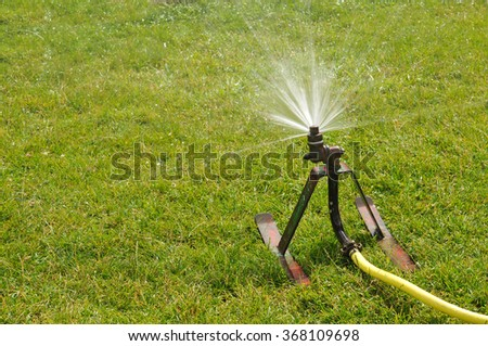 Lawn sprinkler spraying water over green grass at summer - stock photo