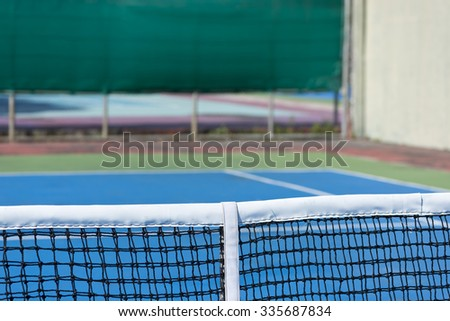 Lawn tennis court and net.Close up of tennis court. - stock photo